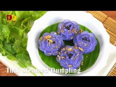 Thai Steamed Dumpling | Thai Dessert | Chor Muang | ช่อม่วง - YouTube Arrowroot Flour, Coconut Pancakes, Thai Dessert, Rice Flour, Chor, Dumpling, Thai Recipes, Appetizers, Desserts