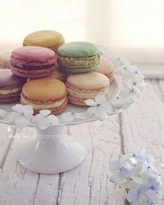 Pretty (and tasty) French macarons on a white cake plate, surrounded by hydrangea petals. Professionally printed upon order. My photographs are professionally printed with archival inks on premium aci