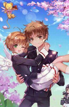 Sakura and Syaoran hold princess style