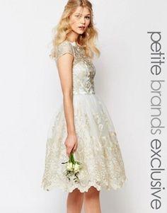 Chi Chi London Petite Premium Metallic Lace Midi Prom Dress With Bardot Neck