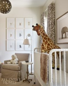 home in Atlanta designed by Melanie Turner and Jill Tompkins   bold tribal print fabric by Raoul in the nursery   photo: Emily Followill for Atlanta Homes & Lifestyles