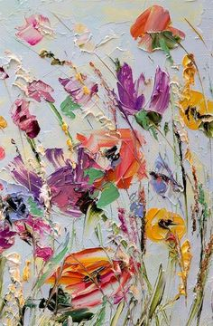 Oil painting flowers palette knife painting on canvas abstract flower painting custom living room wall art color oil painting flowers spatula painting on Oil Painting Flowers, Abstract Flowers, Painting & Drawing, Paint Flowers, Painting Canvas, Palette Knife Painting, Flower Painting Abstract, Watercolor Art, Paintings Of Flowers