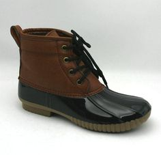 Black & Brown Faux Leather Short Duck Boot with Shiny Jelly Outsole