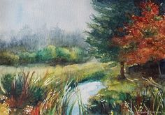 Original Tree watercolor  painting, LITTLE CREEK, fog painting, lake, water, forest, Autumn,Fall