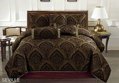 Victorian Jacquard Medallion Paisley 7pcs Comforter Set Bed Ensemble Queen - EXCLUSIVE DEAL! BUY NOW ONLY $64.99