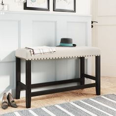 Red Barrel Studio Rustic Wooden Upholstered Dining Bench For Small Places, Espresso+ Beige Brown 20.9 x 38.2 x 15.2 in   Wayfair Canada