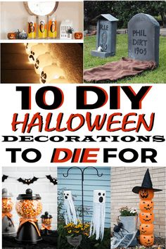 Do you love decorating for Halloween? We are sharing some incredible creative DIY Halloween Decorations you will be dying to share this year. Dollar Store Halloween, Halloween Signs, Diy Halloween Decorations, Holidays Halloween, Halloween Crafts, Holiday Crafts, Christmas Diy, Halloween Stuff, Halloween Ideas