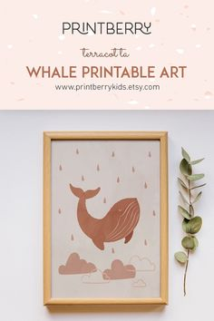 Make your child's room beautiful with this incredible whale print. This cute whale painting will be perfect for boho nursery or as a gender neutral baby shower present. Ocean Themed Nursery, Boho Nursery, Nursery Themes, Nursery Prints, Nursery Wall Art, Whale Painting, Natural Bedroom, Baby Shower Presents, Whale Print