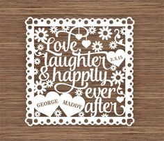 Love, Laughter and Happily Ever After PDF SVG (Commercial Use) Instant Download Papercut Template