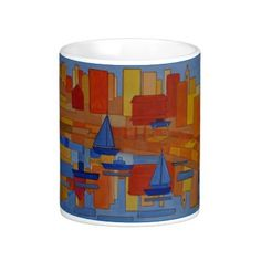Bright colors, red orange yellow blue, harbour with tall buildings, boats and reflections. Modern cubism. by artjanetdavies.