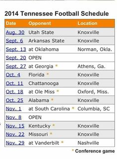 2014 Football schedule.  Go Vols!