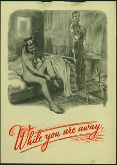 WWII Nazi propaganda shows US soldier and a british woman cheating on her husband - dropped by air on British lines...