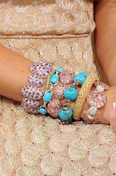 Lorraine Schwartz Oval Multi Color Gemstone and Diamond Bracelet
