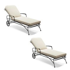 set of two ellington wrought iron chaise loungessky blue and white striped