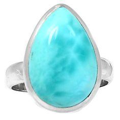 Larimar (Dominican Republic) 925 Sterling Silver Ring Jewelry s.8 LRIR120 - JJDesignerJewelry