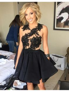 BLACK AND CHAMPAGNE KNEE LENGTH HOMECOMING DRESS WITH LACE