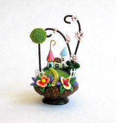 Miniature   Fairy House Colony in Acorn Cap with Picket Fence OOAK by C. Rohal