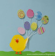 Chick with Easter egg balloons