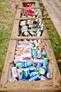 Are a full-on bar and bartender out of a budget? Fill up a trough with the drinks of your choice. Fun and quirky, it lends rustic charm to any backyard or barn wedding.                                                                                                                                                                                 More