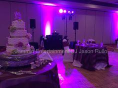 Dance floor color Wash, cake spot lighting. Cranberry, PA Marriott Hotel Ballroom DJ Jason Rullo   www.jamminjason.com  available for all occasions! Marriott Hotels, Floor Colors, Dj, Wedding Ideas, Dance, Lighting, Dancing, Lights, Lightning
