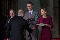 King Felipe VI of Spain (C) and Queen Letizia of Spain (R) attend 'National Culture Awards' at San Antolin Cathedral on June 1, 2016 in Palencia, Spain.