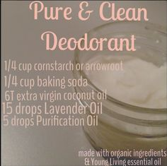 DIY Deodorant. www.youngliving.org/mandismith80.  I am not the author of this!