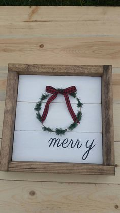 Rustic farmhouse inspired merry shiplap framed sign with wreath by MyTRUSTEDTreasures on Etsy https://www.etsy.com/listing/473755574/rustic-farmhouse-inspired-merry-shiplap