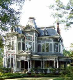 Amazing Second Empire Mansard Victorian House Plans With Wrap Around Porch And Metal Roofing Tile Castletop Also Grey Wood Stain Exterior Finish