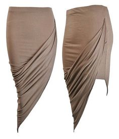 NEW LADIES ASYMMETRIC RUCHED SIDE SPLIT MIDI TUBE SKIRT SIZE 8-14