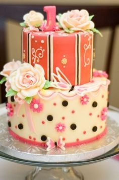 little girls 1st birthday cake from The Girl with the Most Cake (Ottawa).  pink and brown theme