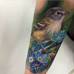 tattoos birds Realistic Ideas is part of Realistic Bird Tattoo Ideas - We can hear the morning birds chirping now Tattoo by Jesse Rix inked inkedmag tattoo bird cute colorful adorable Bird And Flower Tattoo, Flower Bird, Flower Tattoos, Leg Tattoos, Body Art Tattoos, Sleeve Tattoos, Tatoos, Trendy Tattoos, Cool Tattoos