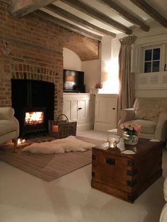 The Fireplace Design - Chimmey Breast Ideas - . - The fireplace design – Chimmey chest ideas – - Cosy Living Room, French Country Living Room, Fireplace Design, Living Decor, Cottage Lounge, Interior Design, Home Decor, House Interior, Cottage Living Rooms