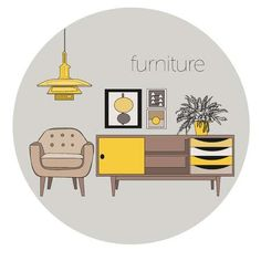 Illustration of vector furniture living room interior design elements. vector art, clipart and stock vectors. Interior Design Vector, Interior Design Sketches, Interior Design Elements, Interior Design Living Room, Interior Logo, Room Interior, Logo Design Inspiration, Icon Design, Layout Design