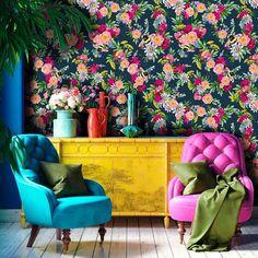 Dark Blue Wallpaper, Bold Wallpaper, Wallpaper Direct, Blue Wallpapers, Beautiful Wallpaper, Colourful Living Room, Dark Blue Living Room, Cream Walls, Wallpaper Calculator