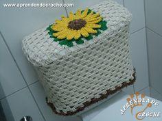 Receita de Jogo Banheiro Crochê Girassol- Capa Caixa Acoplada Passo a Passo