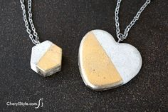 This concrete necklace is trendy, durable and super easy to make! Quick drying cement, molds and jewelry hardware are all you need to get started.
