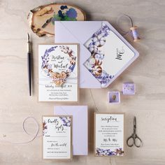 Beautiful purple watercolour invite.