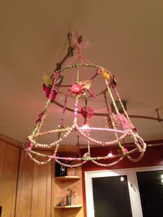 Re cycle an old lamp shadewould be cute just in a girls room lamp shade chandelier mozeypictures Choice Image