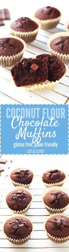 These Double Chocolate Muffins are made with coconut flour and no refined sugar. For a delicious healthier treat that is gluten free, clean eating and paleo friendly. (Keto No Baking Cookies) Gluten Free Sweets, Paleo Dessert, Low Carb Desserts, Healthy Sweets, Dairy Free Recipes, Real Food Recipes, Dessert Recipes, Yummy Food, Paleo Recipes