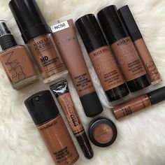 I've been told this all over Pinterest. This is the original source. This is my photo  -- All of my current foundations & concealers  (I actually have more concealers somewhere)  Yet I still want more lol!  All I need is Estée Lauder's DoubleWear foundation & Lancôme Teint Idole Ultra 24H foundation  #melanin