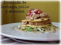 Ensalada de lechuga, pollo y manzana   Cocina