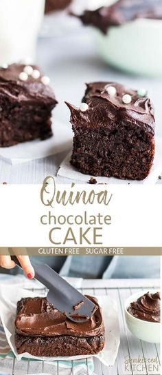 Chocolate Quinoa Cake / This gluten free and sugar free cake recipe is one you don't want to miss! A lightly sweet and wonderfully textured cake.   SUNKISSEDKITCHEN.COM   #quinoa #sugarfreecake #chocolate #cake #healthydessert