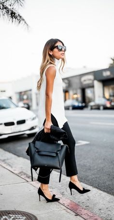 spring fashion white sleeveless vest blouse shirt+black skinny cropped trousers