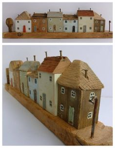 Kirsty Elson Designs - driftwood art Would love a piece of Kirsty's work. Clay Houses, Ceramic Houses, Miniature Houses, Wooden Houses, Driftwood Crafts, Wooden Crafts, Wood Block Crafts, Wooden Art, Beach Crafts