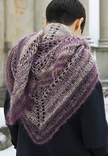 A warm and cozy triangular shawl, knitted top-down from the center back, by using two different fibers to create colorful and harmonious shades. Knitted Shawls, Warm And Cozy, Ravelry, Cowl, Scarves, Pullover, Knitting, Crochet, Sweaters