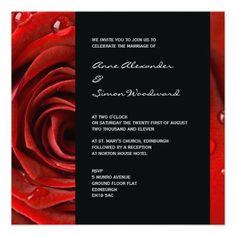 Modern Red Rose Wedding Invitation