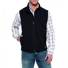 Ariat Mens Black Costa Cloth Vest  Black Costa Cloth Vest, Featuring Double Zipper,Two Hand Pockest One one each side. Ariat Logo design in White, at the bottom of the vest.