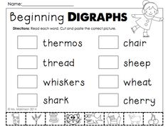 Winter themed printables for first grade - beginning digraphs cut and paste