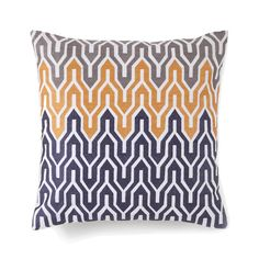 Jill Rosenwald Home Plimpton Flame All Over Embroidered Flame Throw Pillow