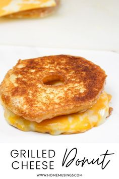You can whip up this grilled cheese donut in less than 10 minutes with 3 ingredients! #donut #grilledcheese #breakfast #brunch #lunch #budget #recipe #easy Brunch Recipes, Vegan Recipes, Cooking Recipes, Grilled Cheese Donut, 3 Ingredients, Donuts, Waffles, Biscuits, French Toast